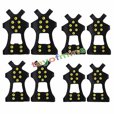 10-Stud Snow Ice Climbing Safety Anti Slip Boots Shoes Spikes Grips Cleats S-XL