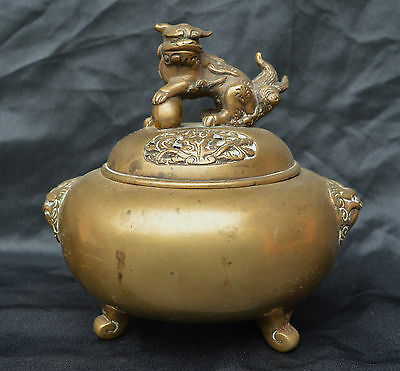Old Heavy Chinese Brass Lidded Bowl Incense Burner Mythical Foo Dog