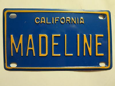 Vintage Personalized California MADELINE Mini Bike Vanity License Plate Sign