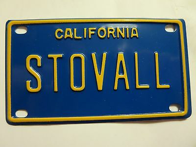 Vintage Personalized California STOVALL Mini Bike Vanity License Plate Sign