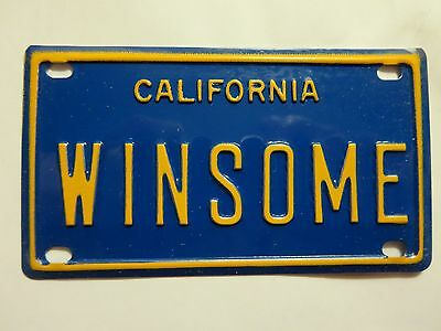 Vintage Personalized California WINSOME Mini Bike Vanity License Plate Sign