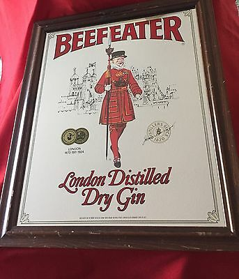 """Vintage Beefeater Gin Mirror Sign Wood Frame Advertising 19"""" x 23"""" EUC"""