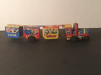Comic Circus Vintage Wind Up Tin Toy Train