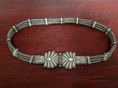 ANTIQUE Rajasthan Silver Belt / Tribal Hand-made Woven Chain Wedding Belt 30""