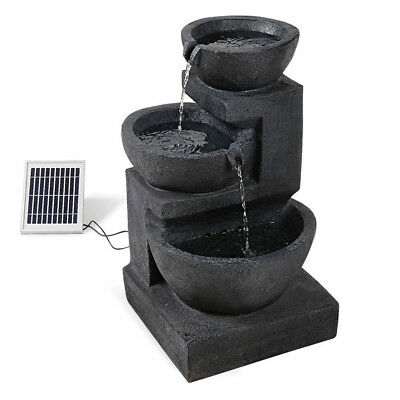 Solar Powered Fountain w/ LED Lights Garden Water Feature Outdoor Bird Bath