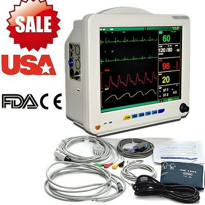 US Ship 12.1 ICU Patient Monitor 6 parameter Vital Sign ECG NIBP RESP TEMP SPO2
