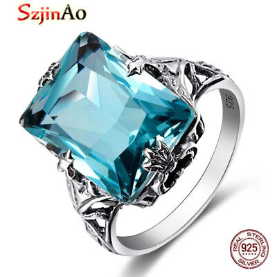 Engagement Ring Genuine 925 Sterling Silver Vintage Aquamarine Rings for  women