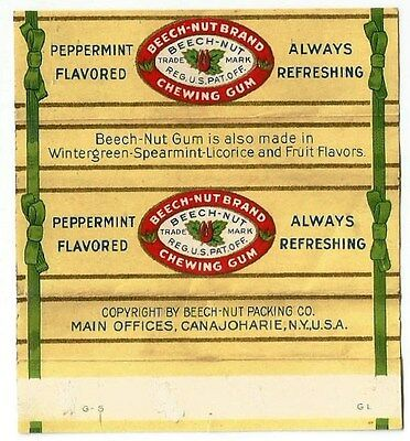 Vintage 1930's American Chewing Gum Wrapper Beech-Nut Peppermint