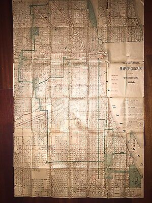 1899 Large Foldout Map - Blanchard's Map Of Chicago