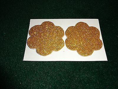 Womens Pasties/ Nipple Covers Water Resistant Gold Glitter Flowers