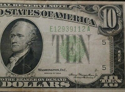 1934 Circulated Ten Dollar $10 Federal Reserve Note