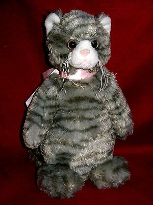 "Bearington Collection 11"" Gray striped CAT sad face droopy whiskers & pink bow"