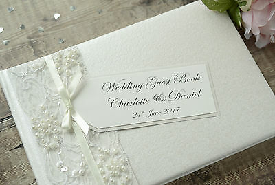 Luxury Personalised Wedding Guest Book - Vintage Style Lace and Ribbon Design.