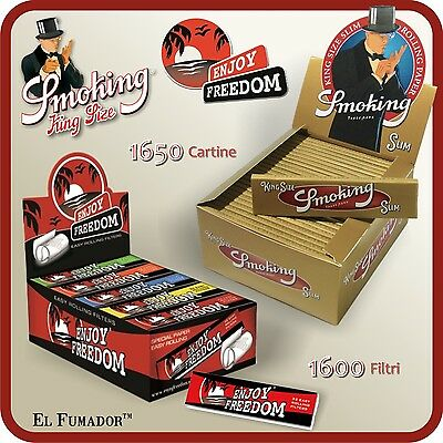 1650 Cartine SMOKING GOLD SLIM LUNGHE + FILTRI CARTA ENJOY FREEDOM - 1 BOX 50 Pz