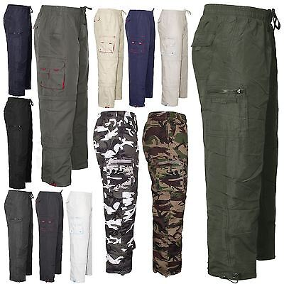 Mens Cargo Combat Casual Elasticated Waist Trousers Pants Rugby Bottoms M - XXXL