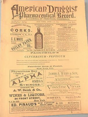 1891 American Druggist And Pharmacy Record Catalog Advertising Journal Very Rare