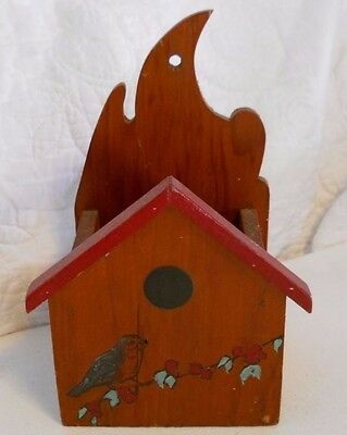 Vtg Folk Art Wooden Birdhouse Bird on Branch Match Holder for Hanging on Wall