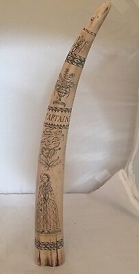 Scrimshaw Faux Whale Tusk Tooth Carved/Etched Design 17""