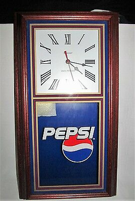 """NEW Pepsi Cola Pendulum Wall Clock by Hanover 24"""" x 13"""" Wood Frame Excellent"""