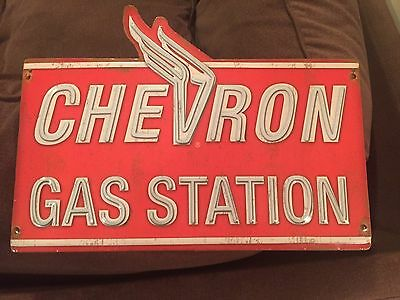 Vintage Style CHEVRON GAS STATION Metal 3D Neon Look Sign