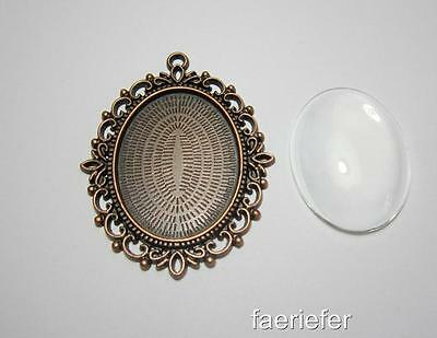 Large picture setting oval pendant frame + glass dome 30 x 40 mm copper tone