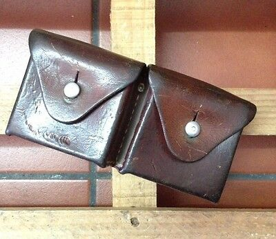1950 Swiss Army MIlitary Belt 2 Compartment Leather Ammo Cartridge Pouch Vintage