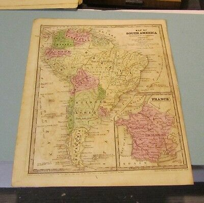1843 Smith Geography Hand Colored Map of South America Patagonia New Granada