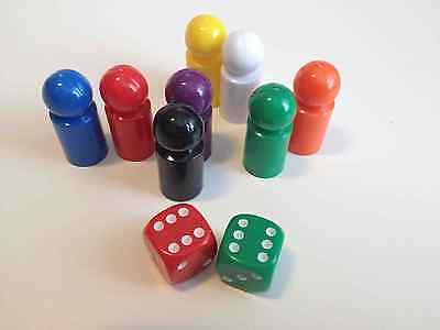 8 Small Game Pawns and 2 x Dice - Make Your Own Game Set -Teaching Numeracy D083