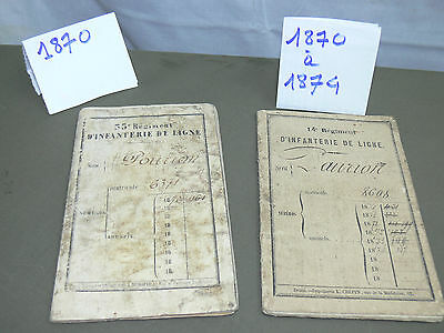 1870-1874 : 2 Livrets Militaires    French 2 Military Booklets 1870/74