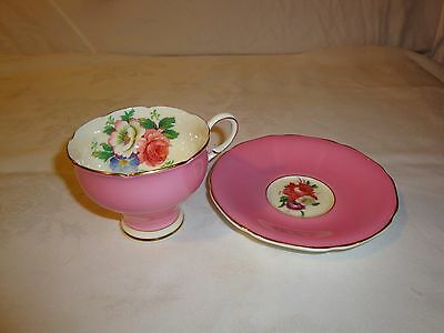 Paragon Tea Cup Red Rose Flowers Pink Cup  Double Warrant 1937-1952