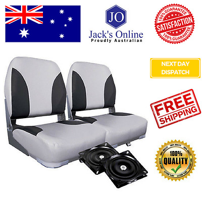 Set of 2 Swivel Folding Marine Boat Seats Grey Black Boating Chair Stool Accesso