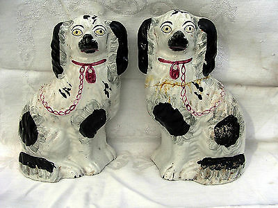 RARE 19th c. CHINESE EXPORT Qing PORCELAIN FIGURINE POTTERY MANTLE DOGS