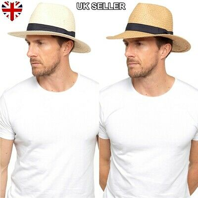 New Mens Ladies Womens Straw Style Fedora Trilby Style Crushable Summer Sun Hat