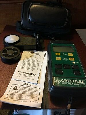 GREENLEE DIGITAL LIGHT METER MODEL 93-172 Complete with Case, Instructions EUC