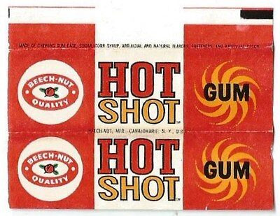 Vintage Rare 1960's American Chewing Gum Wrapper Beech-Nut Hot Shot