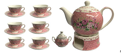 Shabby Chic Tea Set Floral Pink Blue Set 6 Cups Gift Set Retro Vintage Style