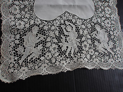 """37"""" Antique Madeira Hand Made Point Venise Italian Figural Dancer Lace Panel"""