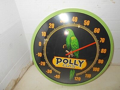 "COLLECTIBLE DECORATIVE POLLY GAS 14"" round ADVERTISING Thermometer"