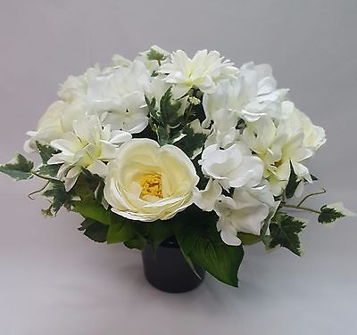 Artificial Grave Flower Arrangement All Round Ranuncula Daisy Hydrangea Cream