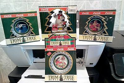 Vintage Coca Cola Trim A Tree Collection Ornaments Lot of 4 (NEW) 1990-91-96