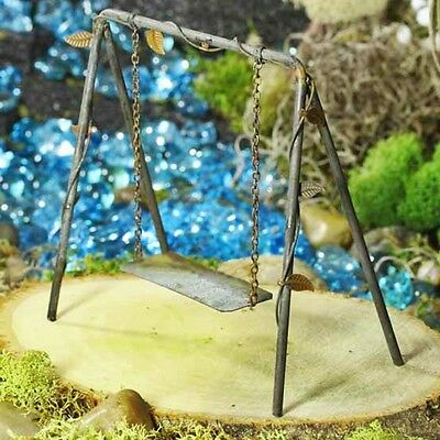 Miniature RUSTIC METAL Fairy SWING for Dollhouse DECOR or FAIRY GARDEN ACCESSORY