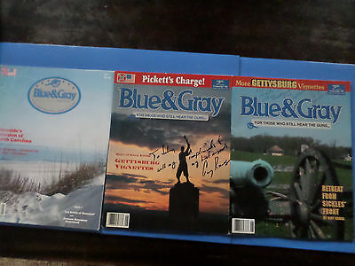 Blue & Gray Civil War Mags Lot Of 3 With 2 Gary Kross Auto's