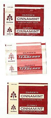 Vintage (3) American 1970's Chewing Gum Wrappers Clark's