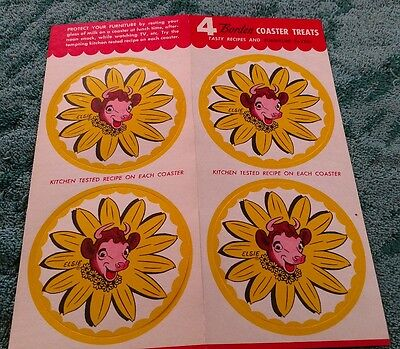 Elsie the Cow Borden's 4pc Carded coaster set with recipes 1950's Original Nice!