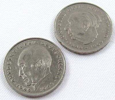 Germany 2 Deutsche Mark 1971 and 1974 Circulated