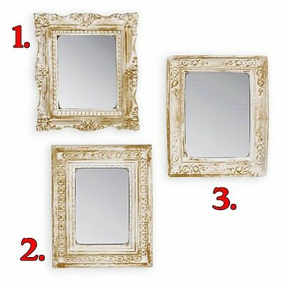 Hanging Miniature Square Wall Mirror Choice Of 3 Styles Ornate White & Gold