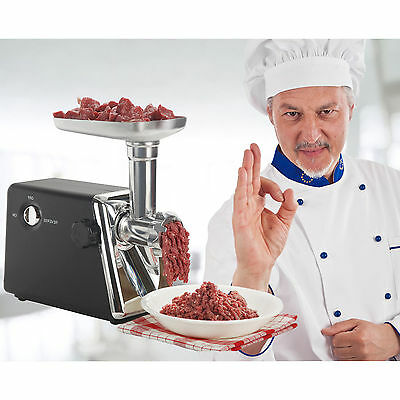 Electric 1200W Meat Grinder Stainless Steel Sausage Stuffer Kit w/ Blade + Plate