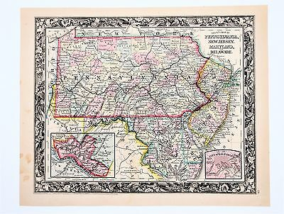 1860 Pennsylvania Maryland Delware Map Philadelphia New Jersey RARE ORIGINAL