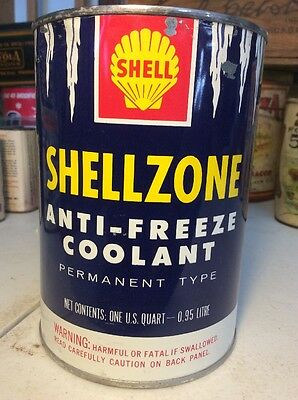 Vintage Shellzone Permanent Anti-freeze Tin Can Advertising Full Sealed 1 Quart
