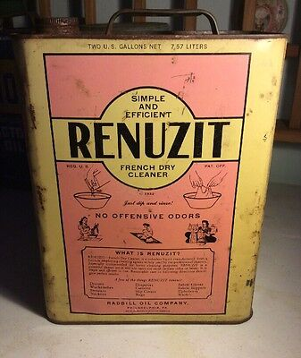Vintage Renuzit 2 Gallon Oil Tin Can Advertising French Dry Cleaner Radbill Rare